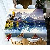 QWEASDZX Mantel Elegante Simplicidad Impresión Digital 3D Mantel Decorativo Tela Poliéster Impermeable Mantel Rectangular a Prueba de Polvo Adecuado para Interiores y Exteriores 140x220cm