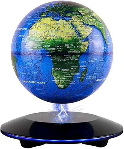 JOWHOL Magnetische schwebender globus mit 6 Zoll Beleuchteter Globus, Berühren Automatisch drehend Lehrreich Welt Globu Welt Karte, Kreative Heim/Schreibtisch Dekoration, Geschenk für Kinder/freunds