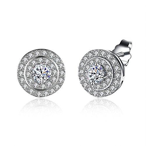 Jösva Silver Stud Earrings for Women, 925 Sterling Silver Studs Earring, Round Stud Earrings with 5A Cubic Zirconia, Hypoallergenic Small Sleeper Earrings with White Gold Plated, Diameter Size: 10mm