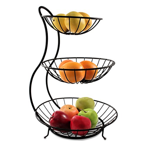 Spectrum Diversified Yumi Arched Server, Stacked 3-Tier Bowls, Dining Table & Kitchen Counter Organizer, Modern Fruit Basket Stand, Black