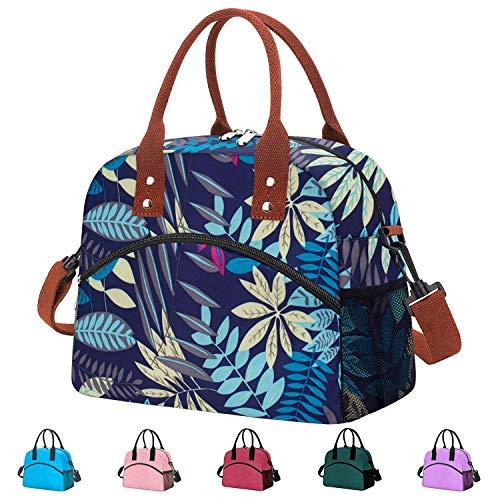 Reusable Large Insulated Durable Cooler Lunch Bag for Women Men Tote Bag with Adjustable Shoulder Strap for Office Work School-Purple Leaf