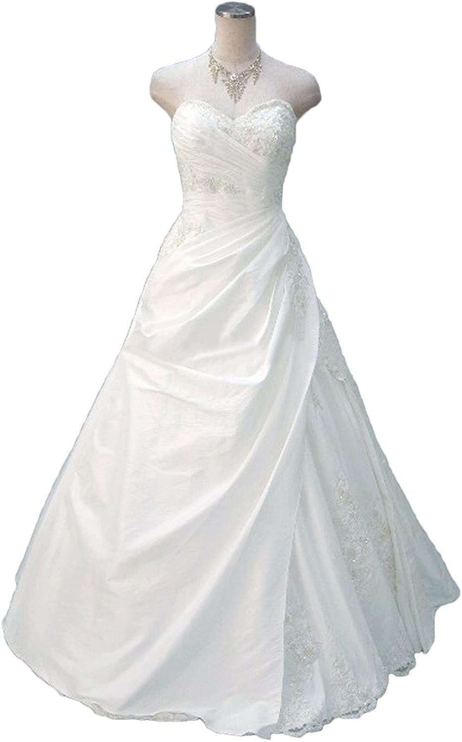 Avril Dress Taffeta Strapless Ball Gown Applique Wedding Gown LaceUp