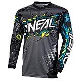 O'NEAL | Motocross-Jersey Langarm | Kinder | MX MTB Mountainbike Enduro | Eingenähter Ellbogenschutz, V-Ausschnitt, Atmungsaktives Material | Element Youth Jersey Villain | Grau | Größe L