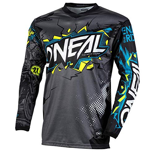 O'Neal | Camiseta de Motocross Manga Larga | MX MTB Mountainbike Enduro | Protección para los Codos cosidos, Cuello en V, Material Transpirable | Element Youth Jersey Villain | Niños | Gris | Talla L