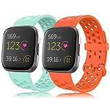 Onedream Correa Compatible para Fitbit Versa/Versa Lite/Versa 2 Correa Hombre Mujer, Silicona Reemplazo Sport Band para Versa/Versa 2/ Versa Lite/Versa SE Naranja/Teal L