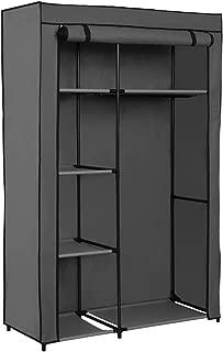 Home-Like Portable Clothes Closet Storage Wardrobe Closet Organizer Storage Closet with Non-Woven Fabric and Hanging Rod Space-Saving Organizer CabinetL41.73''xW17.72''xH65.35' (146-Grey)