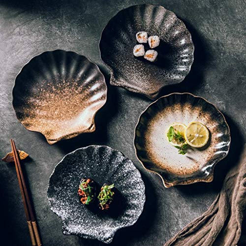 Xiao-bowl3 4 UNIDS Cerámica Plato de Arroz Contenedor de Comida Vajilla Japonesa Sushi Ensalada de Fruta Helado Cuenco Diseño en Forma de Concha Utensilios de Cocina Creativos (Color : Brown)