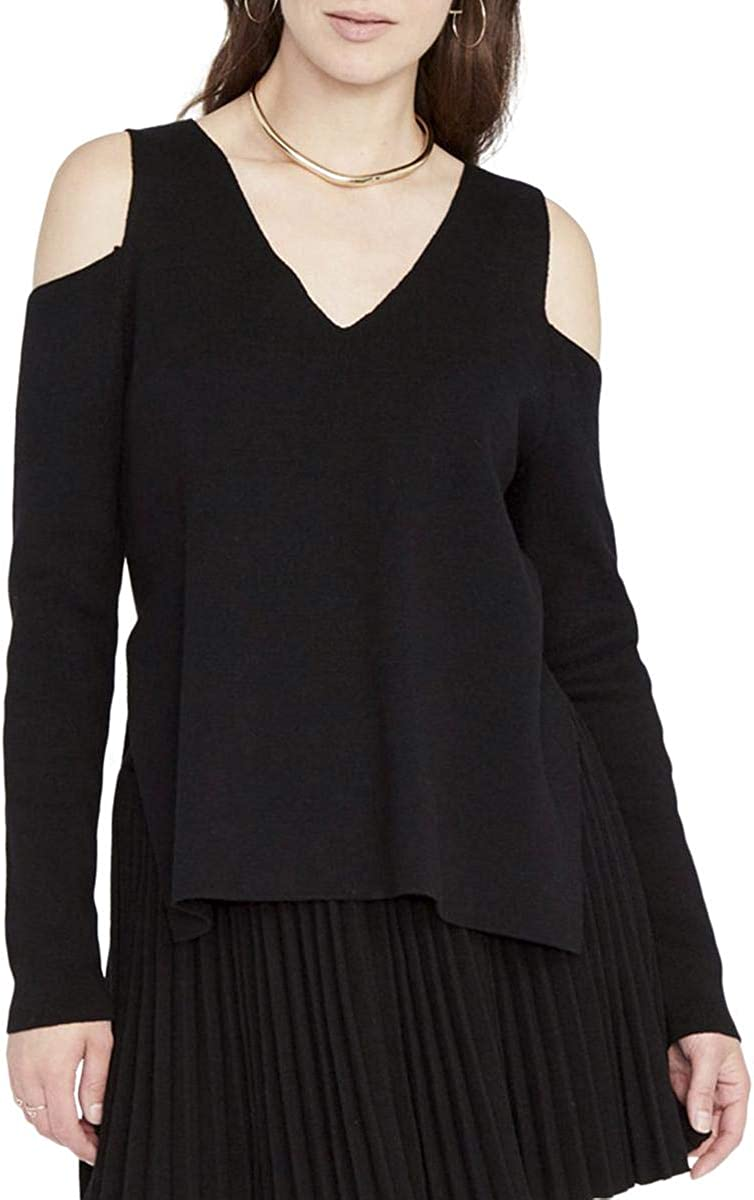 Rachel Roy Womens Cold-Shoulder Pullover Sweater, Black, Small