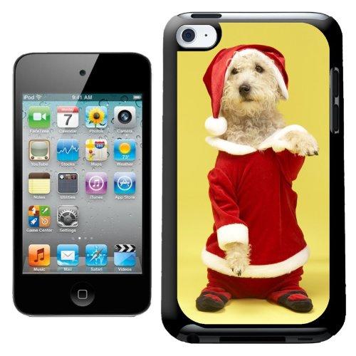 Fancy Een Snuggle Leuke Kleine Hond In Santa Kostuum Standing Up Ontwerp Hard Back Case Cover voor Apple iPod Touch 4e Generatie
