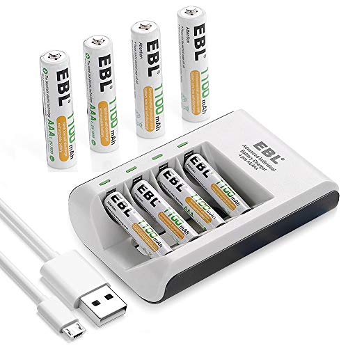 EBL Pack of 8 AAA Batteries 1,100mAh AAA Rechargeable Battery with Smart C807 Battery Charger and...
