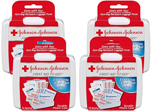 Johnson amp Johnson First Aid to Go Mini FirstAid Kit with 12 Items Pack of 4 Kits
