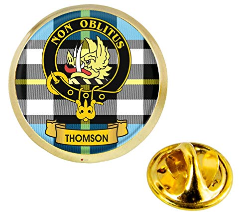 Thomson Scottish Clan Crest Lapel Pin Badge in Gold Colour Product Of Scotland