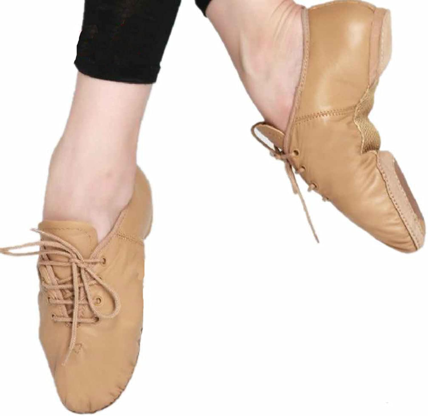 Jazz Ballet Dance Genuine Leather shoes Lace Up Split Sole