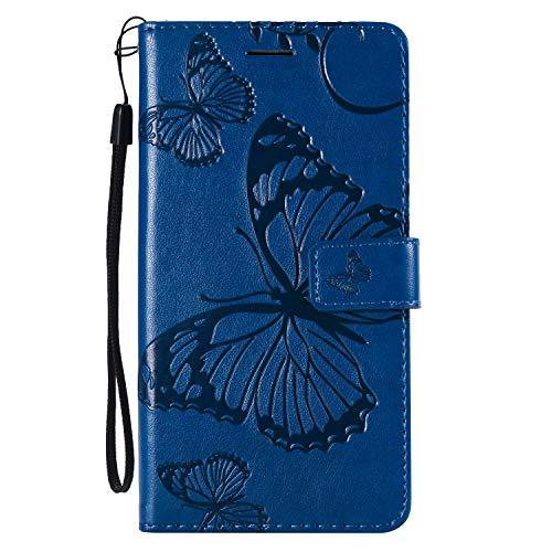 Tosim [LG X Power 2] Hülle Leder, Klapphülle mit Kartenfach Brieftasche Lederhülle Stossfest Handy Hülle Klappbar für LG X Power2 (LGM320N) - TOKTU56418 Blau