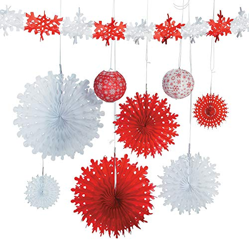 Oriental Trading Snowflake Assortment, Red/White, One Size