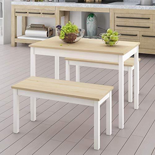 HCJZWJ Madera sólida Conjunto Mesa de Comedor con 2 sillas Banco de jardín de la Cocina Sala de Estar,A