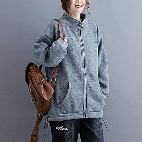 『Semo1mus レディース ジャケット 冬 コート カジュアル 防寒 ゆったり 厚手ファッション 体型カバー おしゃれ グレー』の2枚目の画像