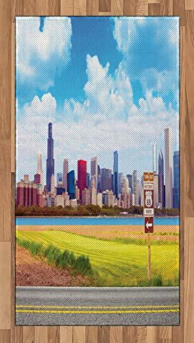 ABAKUHAUS Horizonte De Chicago Alfombra de Área, Ruta Famosa 66, Tejido Durable Decoración para Cualquier Ambiente, 80 x 150 cm, Multicolor