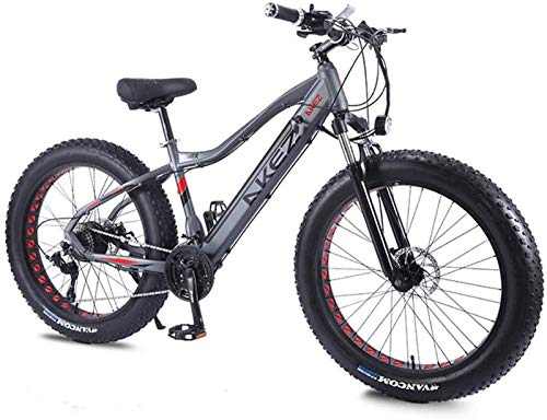High-speed Electric Mountain Bike 26 Inches 350W 36V 10Ah Folding Fat Tire Snow Bike 27 Speed E-Bike Pedal Assist Disc Brakes And Three Working Modes for Adult (Color : Grey)