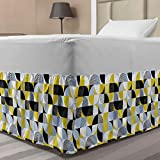 Ambesonne Vintage Elastic Bed Skirt, Contemporary Abstract Art Deco with Minimalist Old Fashioned Curves Lines, Wrap Around Fabric Bedskirt Dust Ruffle for Bedroom, Twin/Twin XL, Lime Green Pale Blue