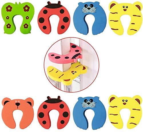 SCHNÜRRLIE Türstopper Schaumstoff 8er Set Kindersicherung - Finger Klemmschutz für Tür und Schubladen in 5 bunten Farben