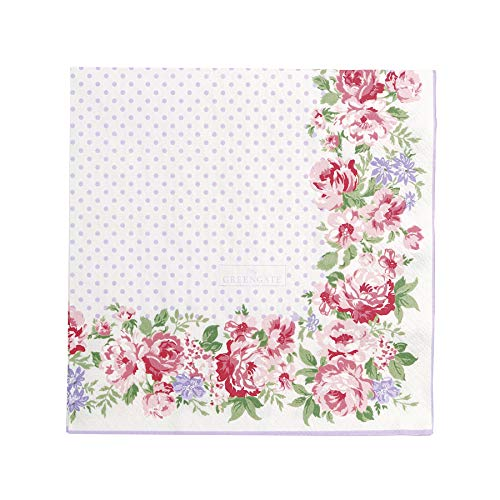 Greengate Servietten Papierservietten Napkin 'Rose white' 33x33 cm 20 Stück