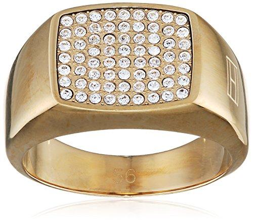 Tommy Hilfiger Damen - Ring 333 Gelbgold Emaille Ringgröße verstellbar - 2700733D