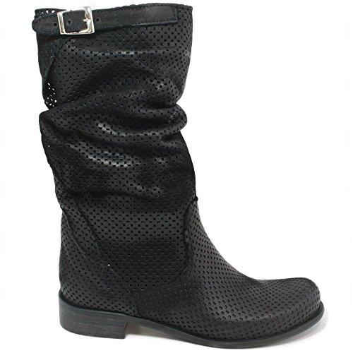 In Time Stivali Traforati Biker Boots Estivi metà Polpaccio Donna 0226 Nero in Vera Pelle Made in Italy