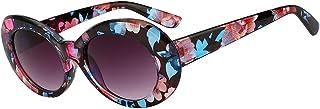 Women Men Retro Oval Goggles Thick Plastic Colored Frame Round Lens Sunglasses