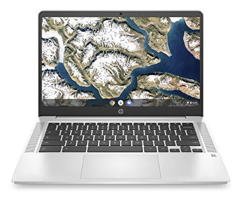 HP Chromebook 14a-na0030ng (14 Zoll / Full HD) Laptop (Intel Pentium Silver N5000 quad, 4GB LPDDR4 RAM, 64GB eMMC, Intel UHD Grafik 605, Chome OS) silber