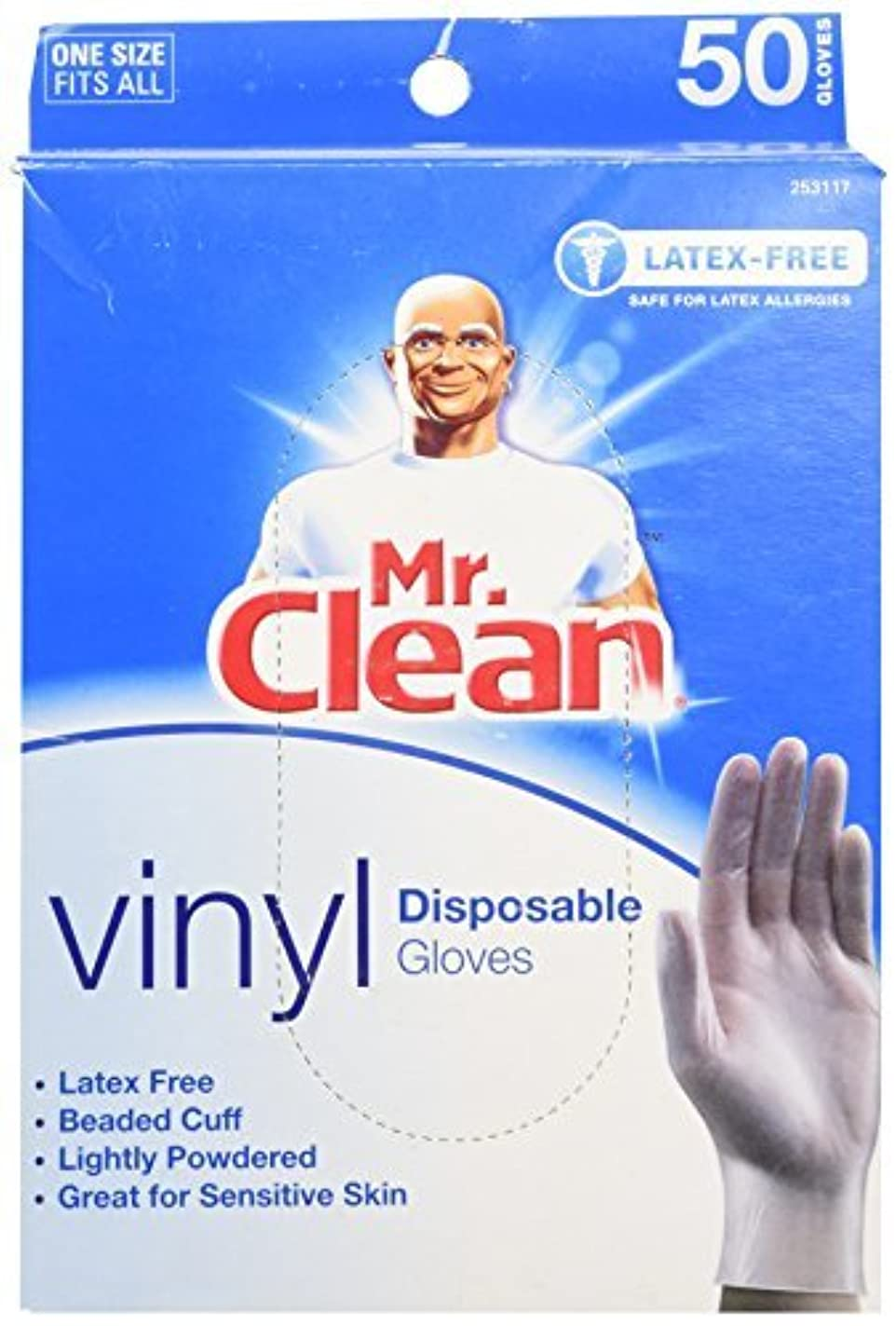 見分ける荒廃するダルセットMR. CLEAN Latex Free VINYL Disposable Cleaning Gloves with BEADED CUFF (50 Co... [並行輸入品]