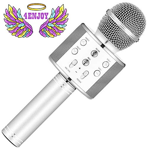 4Enjoy Wireless Bluetooth Karaoke Microphone for Kids Christmas Birthday Home Party for Android/iPhone/PC or All Smartphone All-in-One Karaoke Machine (White)
