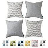 HPUK Decorative Throw Pillow Covers Set of 4 Square Couch Pillows Linen Cushion Cover for Couch Sofa Living Room, 17'x17' inches, Grey