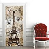 3D Mural para Puerta 77X200Cm Autoadhesivo Impermeable Papel Pintado Puerta para Sala de Estar Baño Cocina Extraíble Vinilo Adhesivo de Pared,Decoración del Hogar - Torre Eiffel