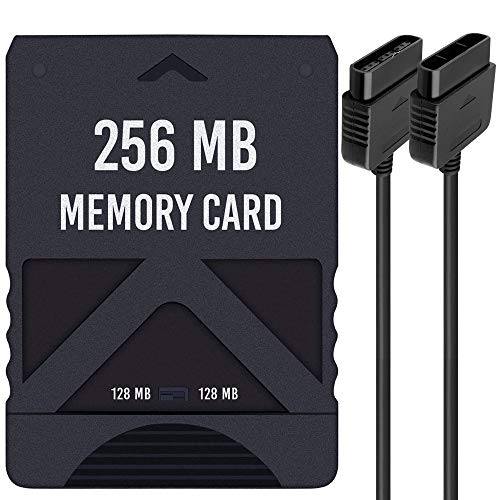 256MB Memory Card for Playstation 2 - High Speed ​​Memory Card for Sony PS2 with Controller Extension Cable