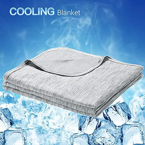 Luxear kühlende Kuscheldecke, mit Q-Max 0,4-Kühlfasern Kühldecke, 2 in 1 doppelseitige Baumwolle Wohndecke, flauschige und weiche Sofadecke Baby Decke Outdoor Decke , 200 x 220cm, grau