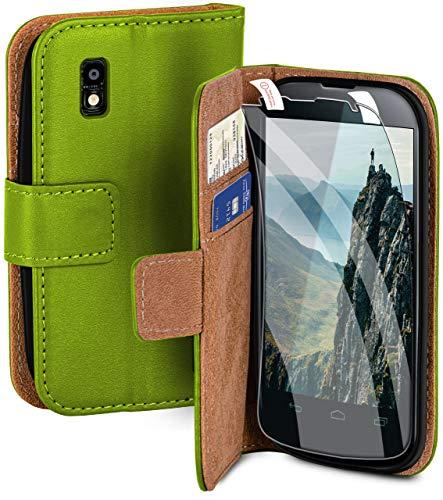 moex Handyhülle für LG Google Nexus 4 - Hülle mit Kartenfach, Geldfach & Ständer, Klapphülle, PU Leder Book Hülle & Schutzfolie - Grün