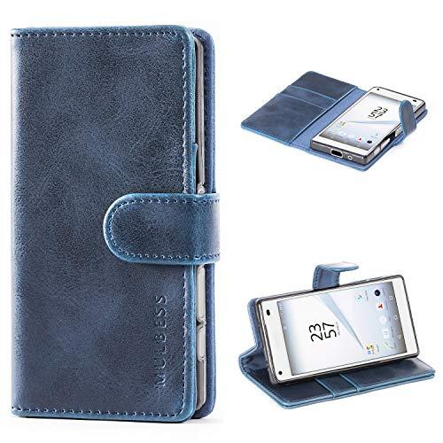 Mulbess Handyhülle für Sony Xperia Z5 Compact Hülle, Leder Flip Hülle Schutzhülle für Sony Z5 Compact Tasche, Dunkel Blau