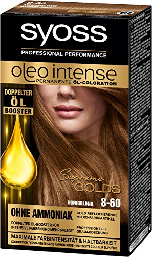 Syoss Oleo Intense Permanente Öl-Coloration, 8-60 Honigblond Stufe 3, 3er Pack (3 x 115 ml)