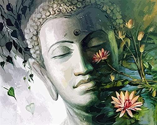 shuodade Adultos y Pintura Estatuas de Buda para los cepillos y Colores de los números para Accesorios para el hogar 40x50cm