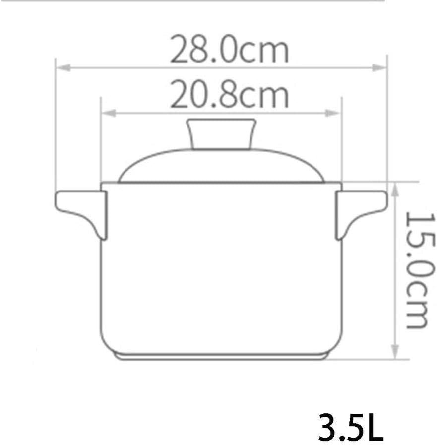 LIUSHI Casserole avec Couvercle Casserole Pot - Pot en céramique de Grande capacité résistant aux Hautes températures, Bouillie et ragoût - 2.5L 3.5l