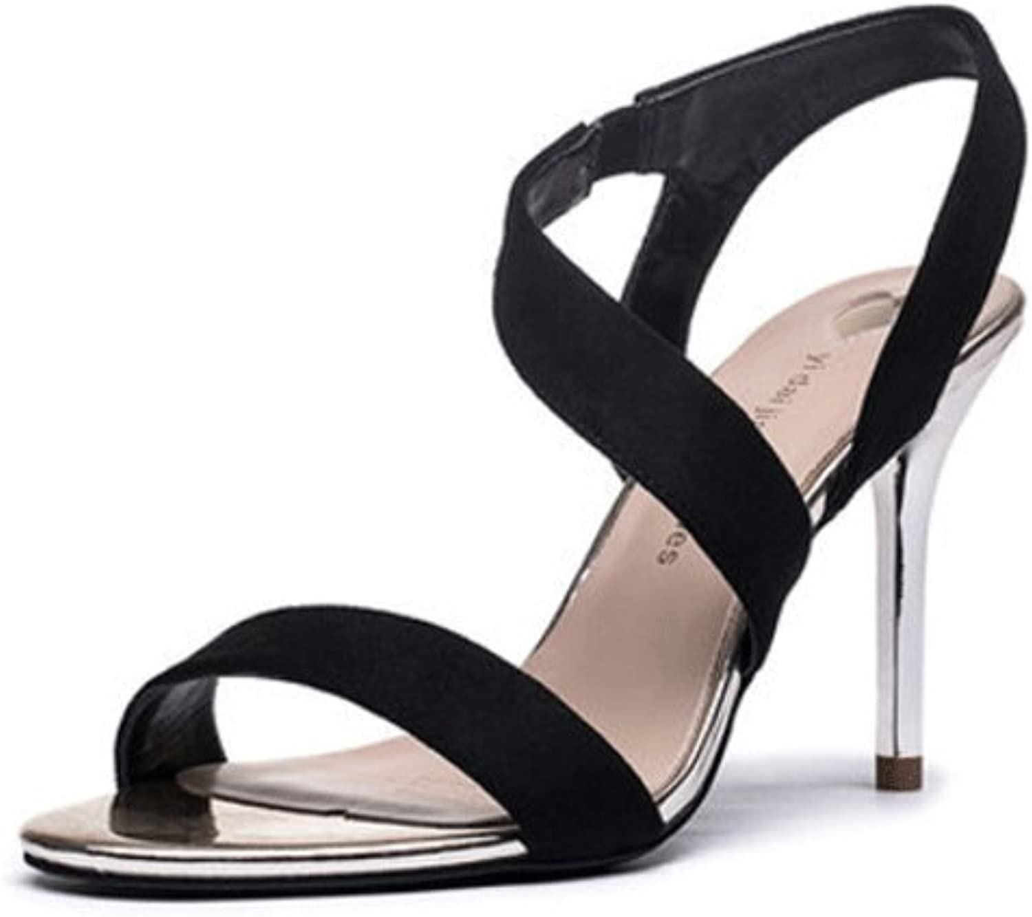 High-heeled sandals female summer sexy high heels ( color   Black , Size   39 )