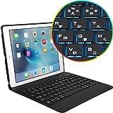 Cooper Cases SLIM BOOK ICHIBAN 【 iPad 9.7 2018 / 2017 / Air2 / Pro 9.7 / Air 】 キーボード ケース 10色LEDバックライト 日本語かな文字入力キー (ブラック)