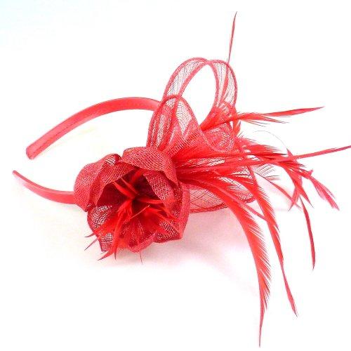 rougecaramel - Serre tête/headband de mariage cérémonies en sisal - corail