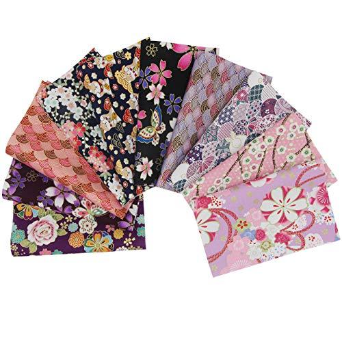 aufodara 10 Pezzi 20 x 25 cm Tessuti Tessuto Cotone Stoffa Stile Giapponese Tessuto Abbronzante Patchwork Cucito Creativo Stoffe a Metro Materiali per Hobby Creativi Quilting Tessuto (Rosa Viola)
