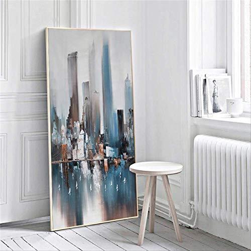 Hedendaagse blauwe abstracte stad gebouw olieverf op doek Posters en prints Scandinavische Wall Art foto voor woonkamer 30x60cm