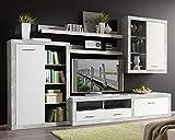 Möbel Jack Wohnwand Anbauwand Wohnzimmerschrank 5-TLG.   Dekor   Grau-Weiß   Glas   LED-Beleuchtung