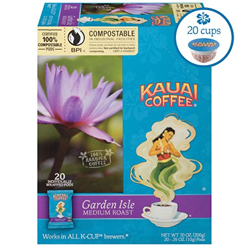 Kauai Coffee Single-serve Pods, Garden Isle Medium Roast – 100% Premium Arabica Coffee from Hawaii's Largest Coffee Grower, Keurig-Compatible Cups - 20 Count