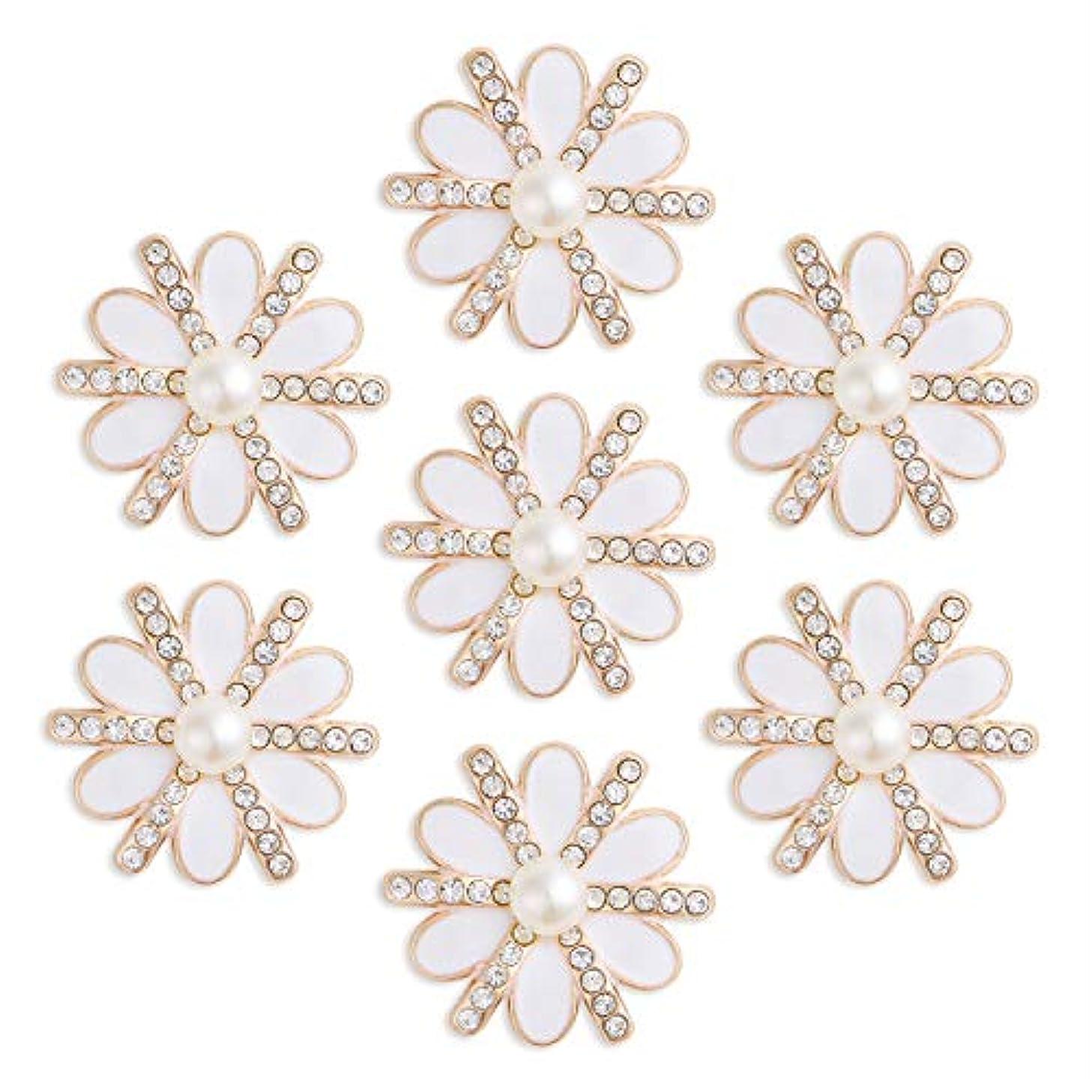 DIY-SHINNY 20 Pieces 20 mm Flatback Pearl Rhinestone DIY Embellishments for Wedding Decoration, Flower Center, Gift Card Decor (Gold)