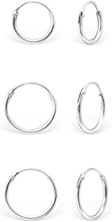 DTPsilver - Damen - Klein Creolen - 3 Paar Ohrringe 925 Sterling Silber oder Rosen-Gold überzogen - Helix/Tragus/Knorpel - Dicke 1.2 mm - Durchmesser 8, 10, 12 mm